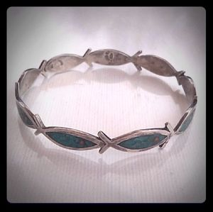 Unique VTG Taxco Sterling Silver Turquoise Bangle